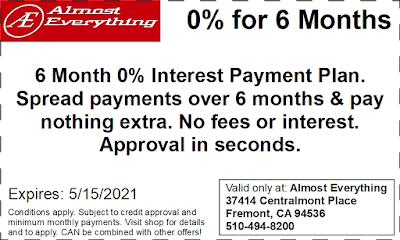 Coupon 6 Month Interest Free Payment Plan April 2021