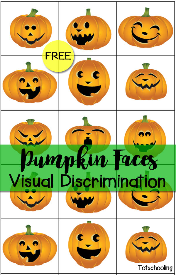 graphic relating to Printable Jack O Lanterns called Pumpkin Faces Visible Discrimination Matching Match