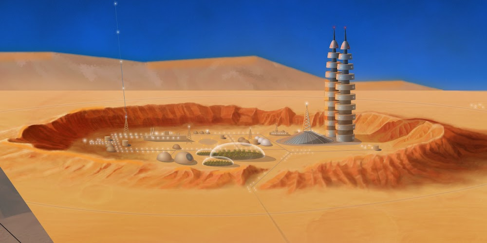 Mars base in a crater by Sam Taylor