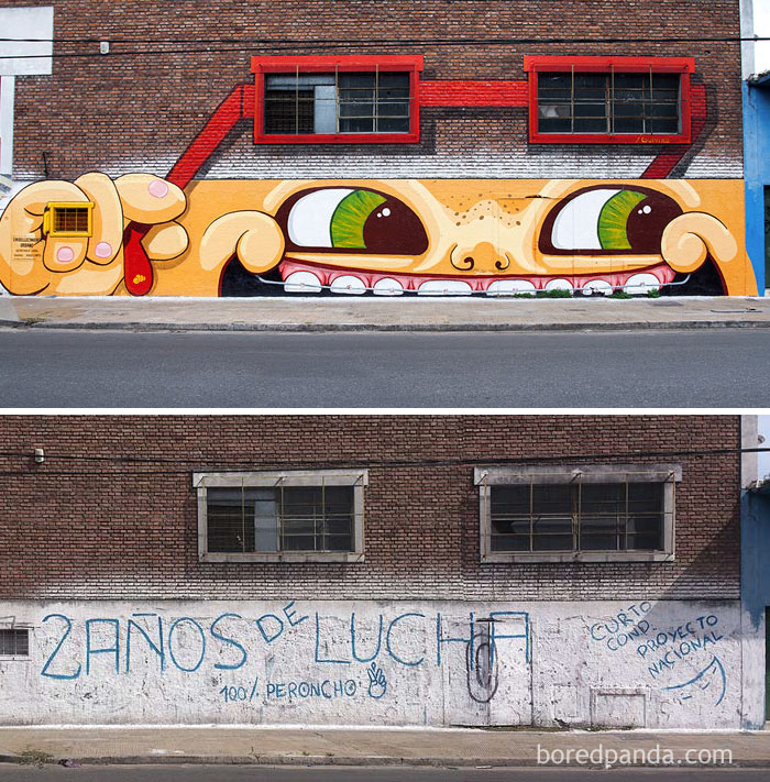 10+ Incredible Before & After Street Art Transformations That'll Make You Say Wow - Mitre´s Smile Mural On A Metallurgical Factory Placed In Avenue Mitre, Buenos Aires, Argentina