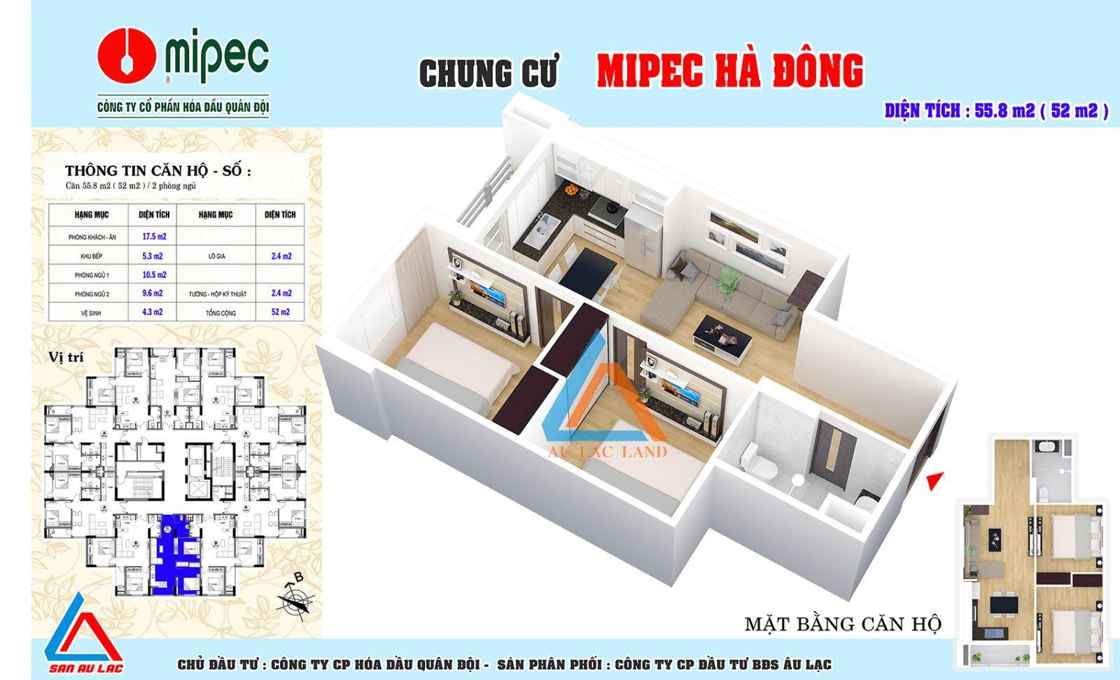 thiết kế căn hộ 55.8m2