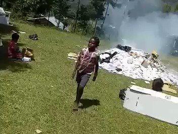 Aksi Pembakaran Surat Suara Pemilu di Kabupaten Puncak Jaya, Papua