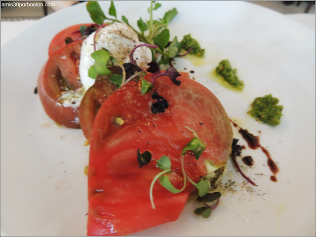 Heirloom Tomato Salad, Burratta, Basil Puree, Aged Balsamic