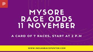Mysore Race Odds 11 November, Race Odds