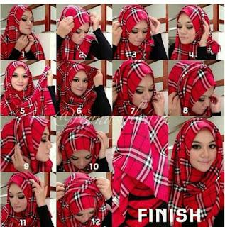 Gambar Cara Memakai Jilbab Pashmina Chiffon