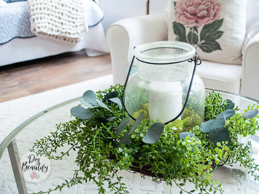 How to Make an Easy Tabletop Wreath Centerpiece with Faux Greenery