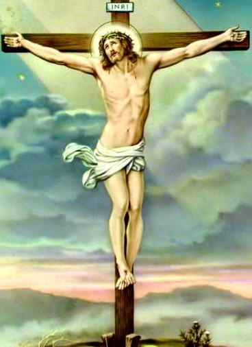 Dibujo de Cristo o Jesús en la Cruz a colores para niños