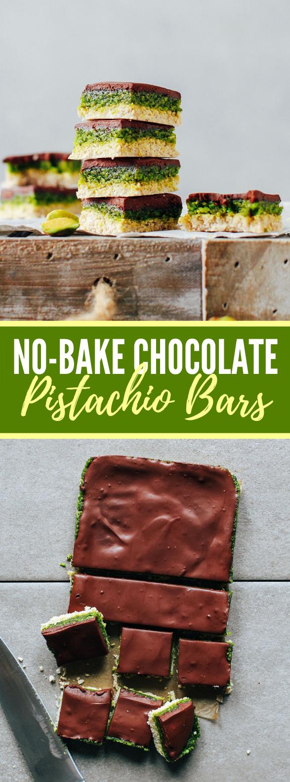 No-Bake Chocolate Pistachio Bars #dessert #healthy #bars #nobake #chocolate