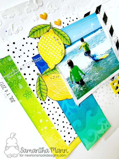 Beach Vibes Layout by Samantha Mann for Newton's Nook Designs, Scrapbook, Mixed Media, Embossing Paste, Stencil, Distress Inks, Ink blending, Machine Stitching #summer #layout #scrapbook #sewing #distressinks #inkblending