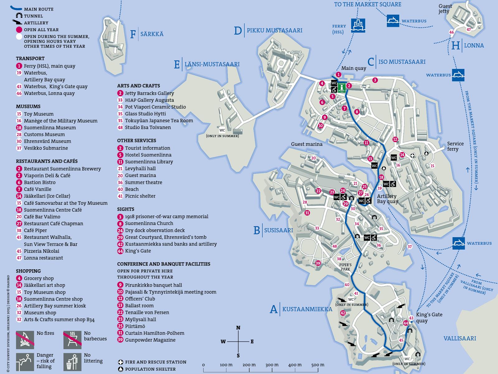 Mapa da Fortaleza de Suomenlinna