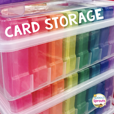 Store your speech therapy articulation and language card sets in labeled photo storage boxes. Read more speech room organization tips at www.speechsproutstherapy.com #speechsprouts #speechtherapy #organization #speechroom