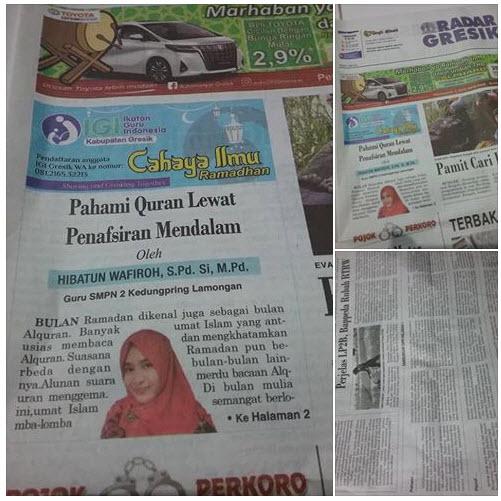 Tulisan Bu Hibatun Wafiroh, S.Pd., Si, M.Pd Guru SMPN 2 Kedungpring Lamongan