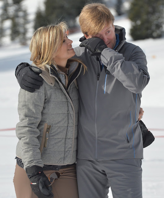 King Willem Alexander of The Netherlands and Queen Maxima of The Netherlands attend winter ski holiday
