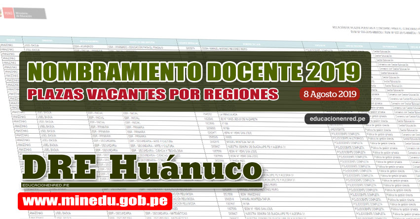 DRE Huánuco: Relación Final de Plazas Vacantes para Nombramiento Docente 2019 (.PDF ACTUALIZADO 8 AGOSTO) www.drehuanuco.gob.pe