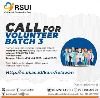 Lowongan Relawan  Call for Volunteer RSUI Batch 3