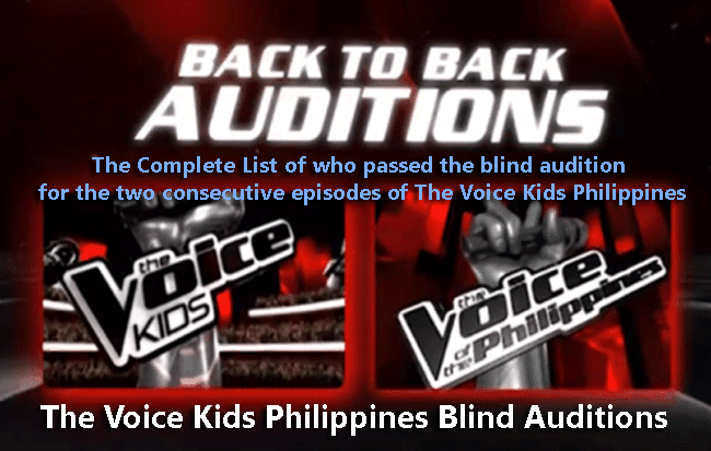 The Complete List of who passed the blind audition  for the two consecutive episodes of The Voice Kids Philippines