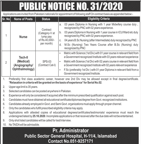 Public Sector General Hospital Latest Job Advertisement in Pakistan 2020 - 2021