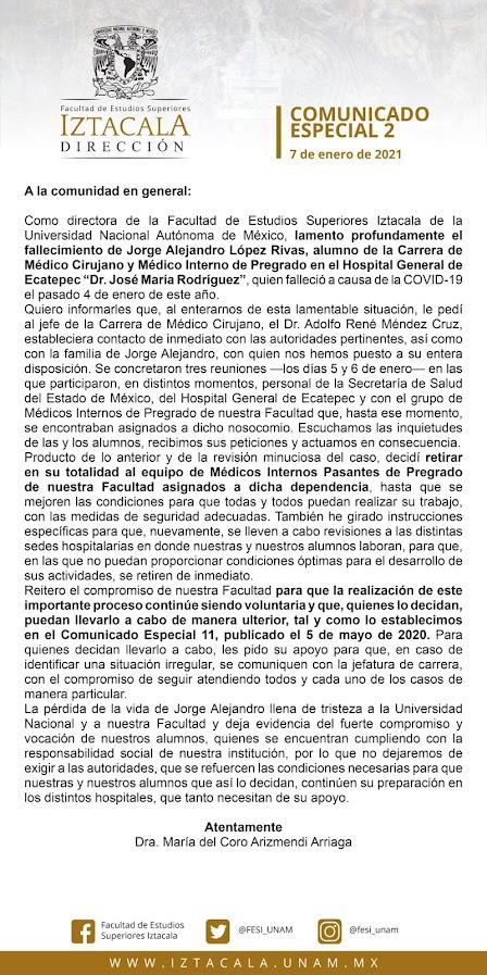 Retira FES Iztacala a todos sus Médicos Internos del Hospital General de Ecatepec