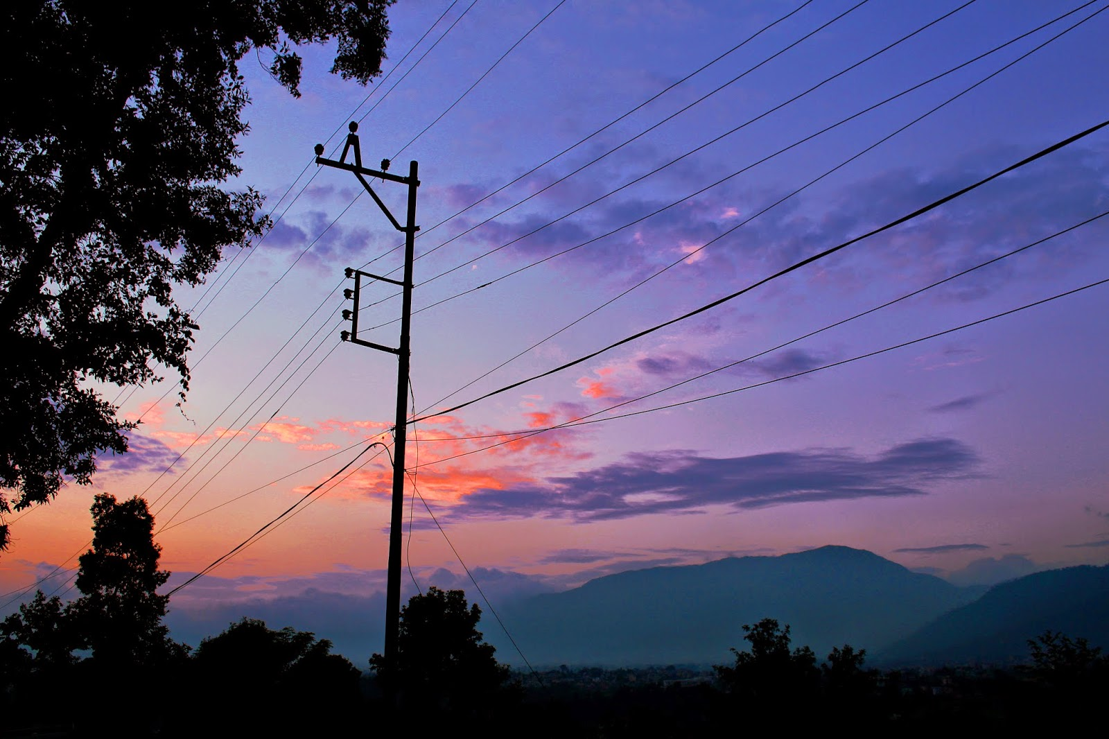 Kathmandu sunset, Kopan, view, nature, power lines