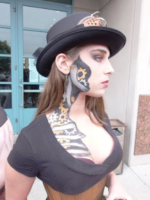 Steampunk special fx makeup of a skeleton with gears. Great halloween or steampunk cosplay makeup for beginners.