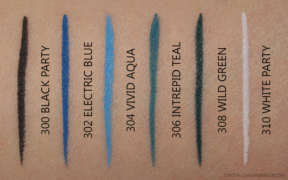 L'Oréal Paris Infallible Paints Liquid Eyeliners Swatches 300 302 304 306 308 310