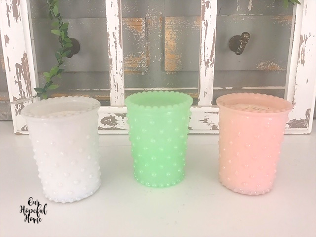 white hobnanil glass jadeite hobnail glass pink hobnail glass votive holder