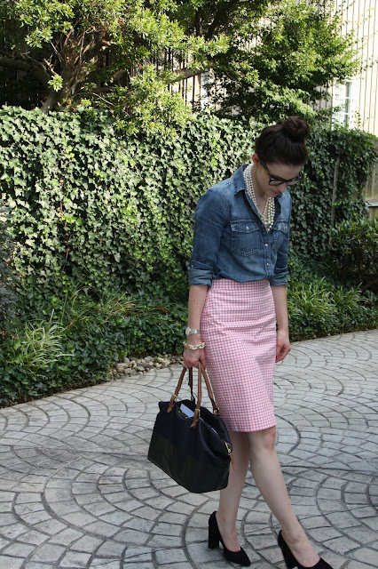 2017, summer, OOTD, work wear, skirts, pink, chambray, pearls, J.Crew,