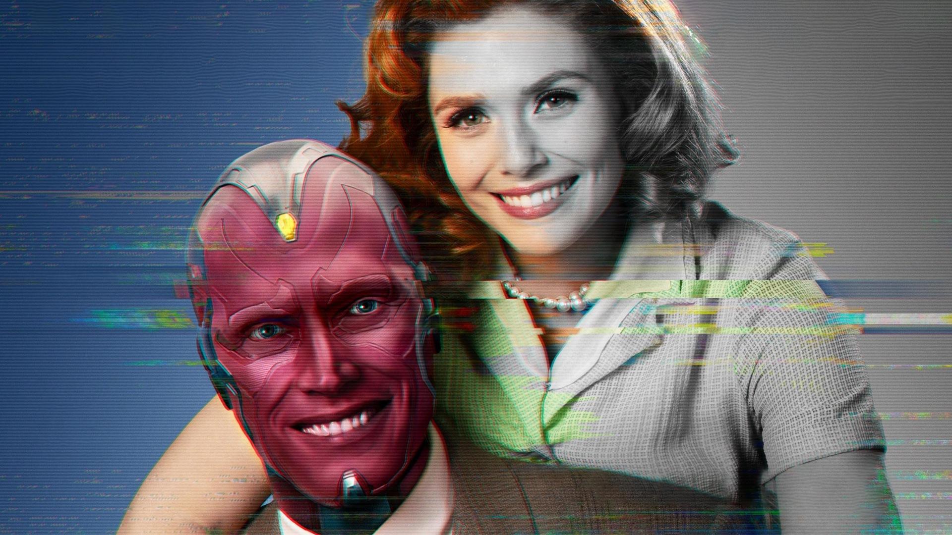 Elizabeth Olsen y Paul Bettany en un póster promocional de 'Bruja Escarlata y Vision', la nueva serie de Marvel Studios
