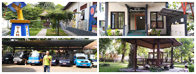 Gambar patung literasi sisi kiri perpus, mushola, parkir mobil keliling dan gazebo belakang
