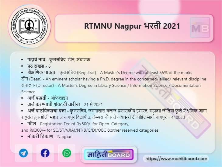 RTMNU Nagpur Recruitment 2021