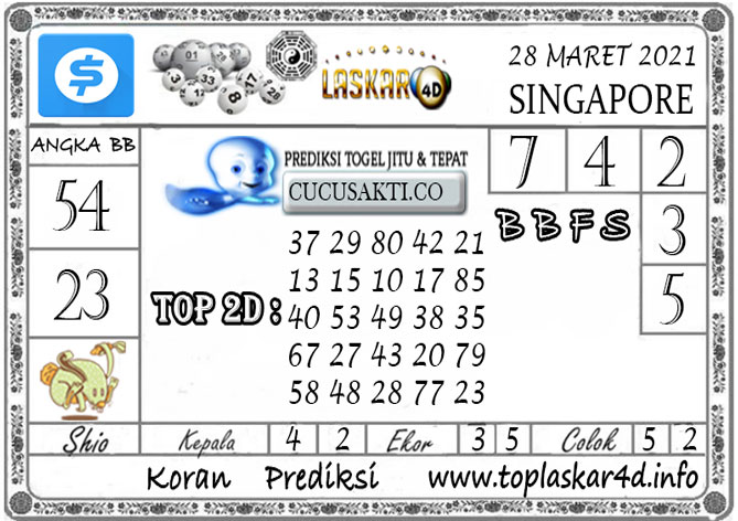 Prediksi Togel SINGAPORE LASKAR4D 28 MARET 2021