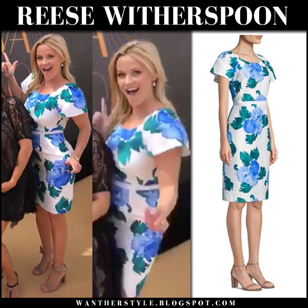 Reese Witherspoon in white and blue floral print dress draper james fashion april 16