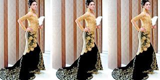 Foto Baju Kebaya Pengantin Warna Emas Gold Padu Hitam Trend Terbaru