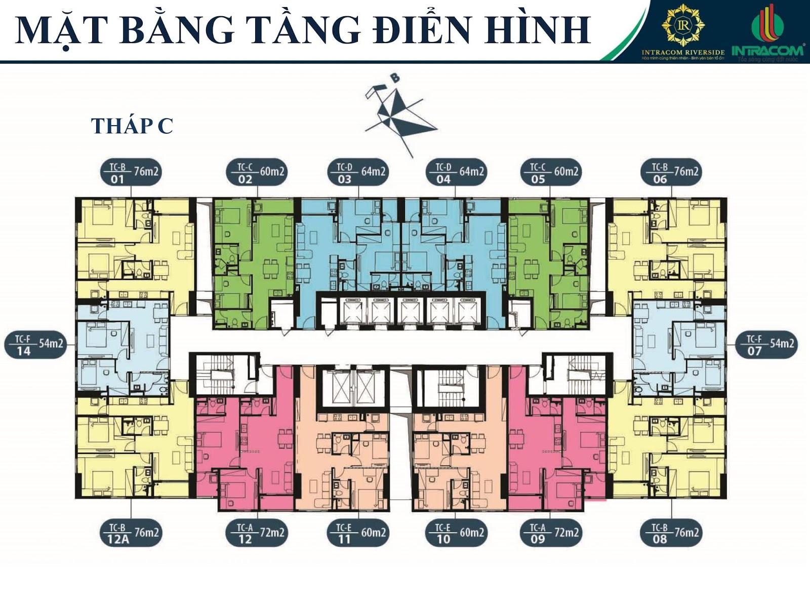 Mặt bằng thiết kế căn hộ tòa C
