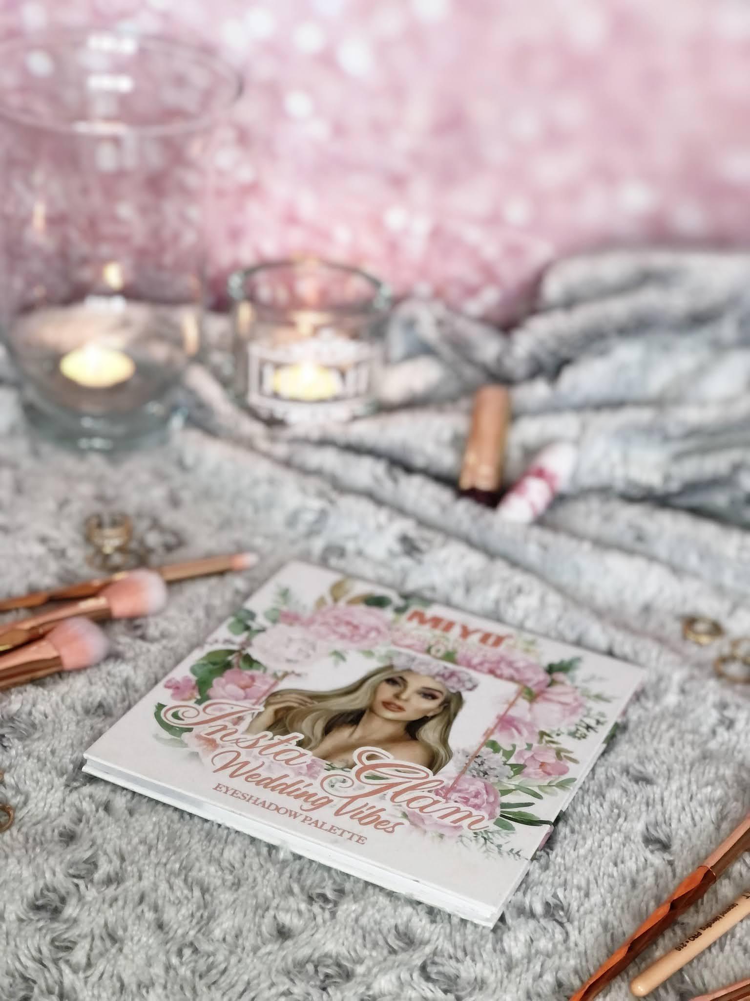 Insta Glam Weeding Vibes | paleta cieni marki Miyo Makeup ze współpracy z Beautyvtricks | moja opinia, swatche, makijaże