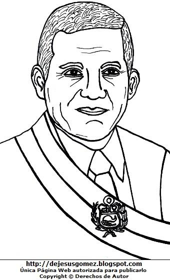 Imagen de Ollanta Humala para dibujar y pintar e imprimir. Dibujo de Ollanta Humala de Jesus Gómez