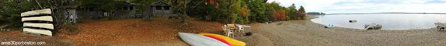 Panorámica de las Cabañas Lakeside Cedar Cabins junto al Lago Graham en Maine