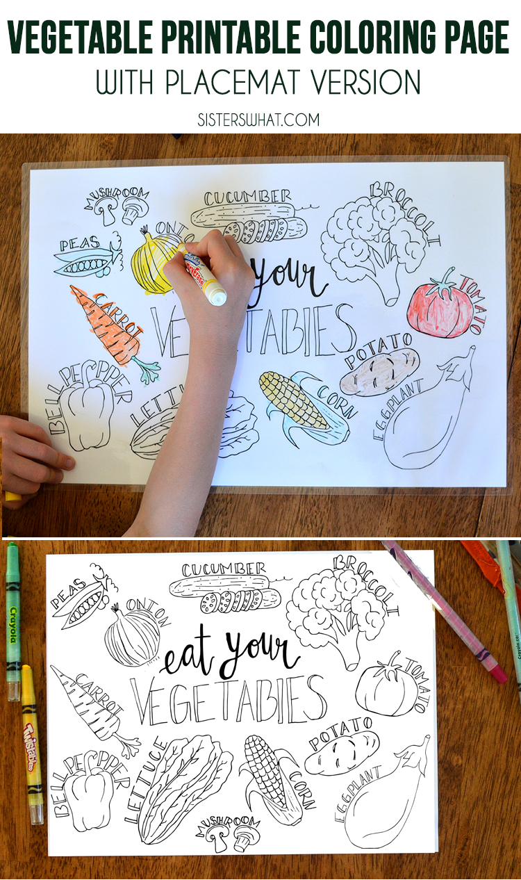 Such a fun kids free printable vegetable coloring page and dinner place mat