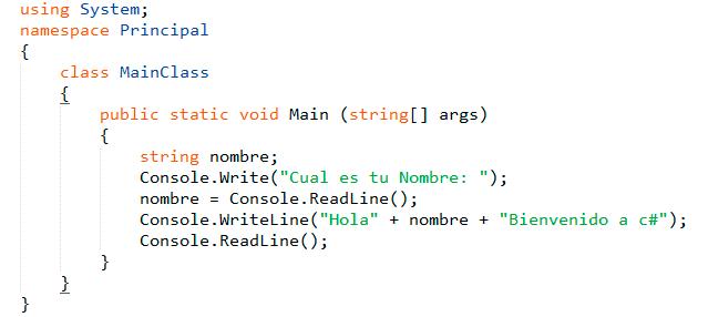 Estructura de un Programa en C#