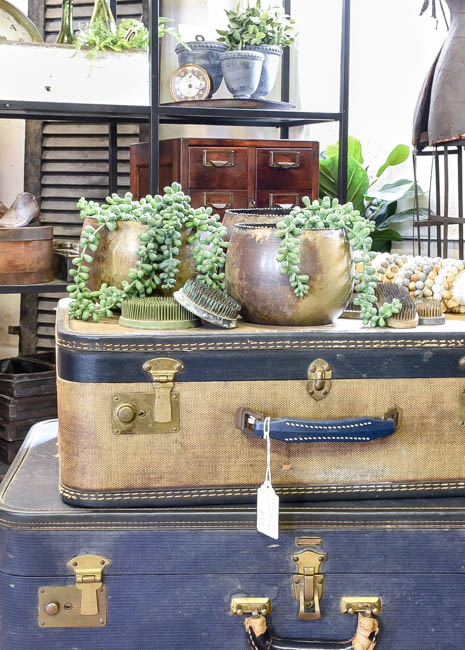 Stacked vintage suitcases