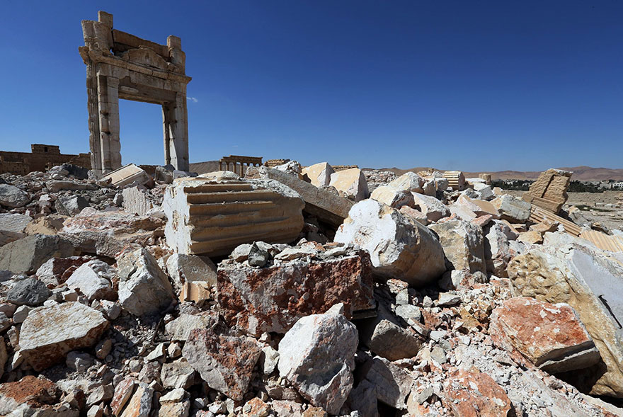 "Shocking Pictures Illustrating Syrian Historical Monuments Destroyed By Daesh attacks - The remains of Temple of Bel's ""Cella"""