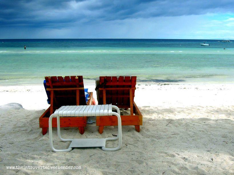 Chairs in Dumaluan beach in Bohol