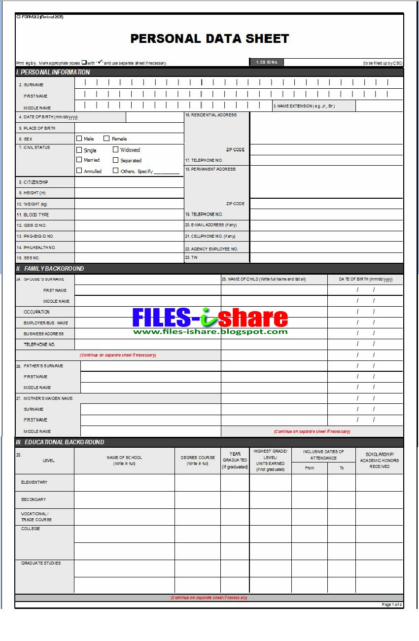 csc form 212 personal data sheet filesishare. Black Bedroom Furniture Sets. Home Design Ideas