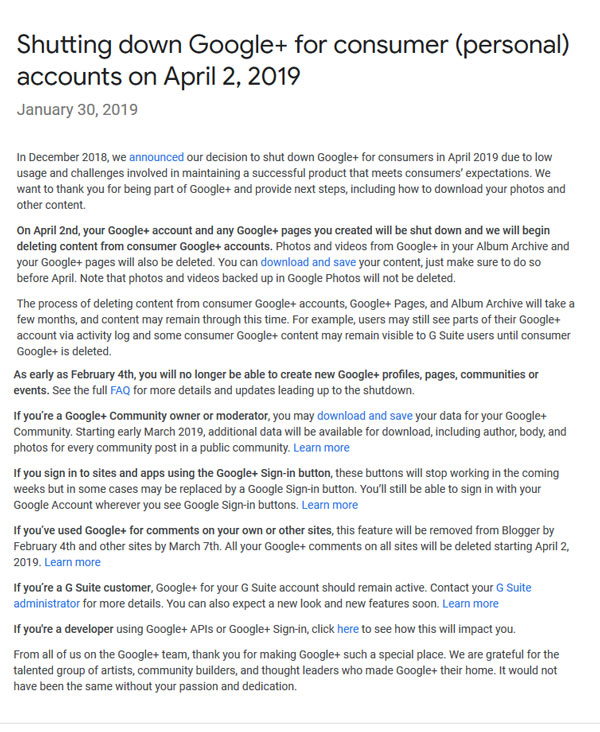 Google+ will Shut Down for Consumers on April 2nd -