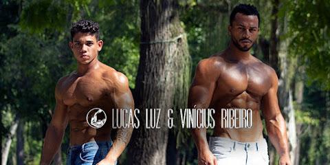 Fisiculturistas Lucas Luz e Vinícius Ribeiro mostram os corpos sarados em ensaio