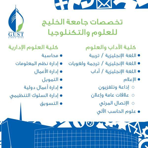 تخصصات جامعة الخليج الكويت