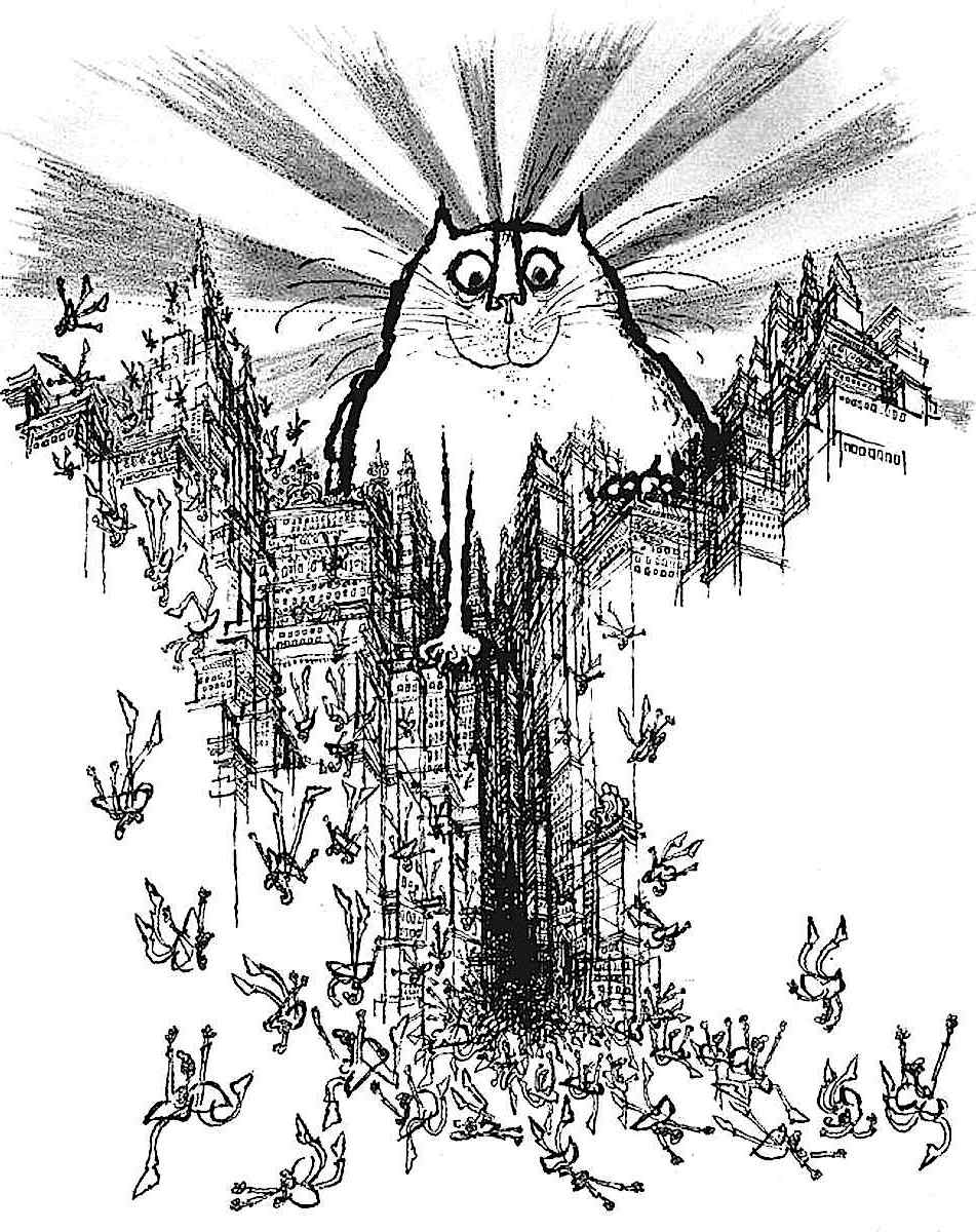 a Ronald Searle giant cat