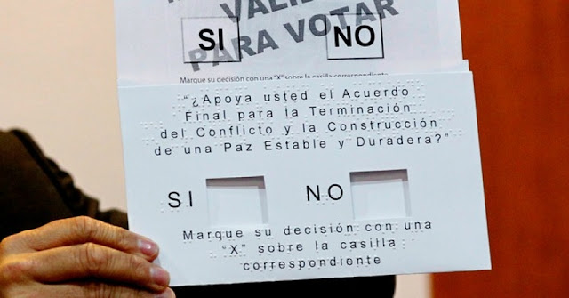 Image Attribute: The voting card for the peace accord between the government and the Marxist FARC rebels in Bogota, Colombia. / Source: Reuters