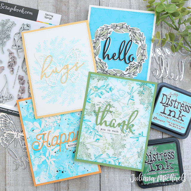 One Stamp Set Five Ways Cards by Juliana Michaels featuring Scrapbook.com Spring Sprigs Stamp Set