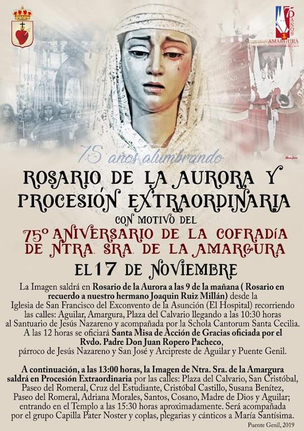Horario e Itinerario Rosario y Procesión Extraordinaria de Ntra. Sra. de la Amargura. Puente Genil (Córdoba) 17 de Noviembre del 2019